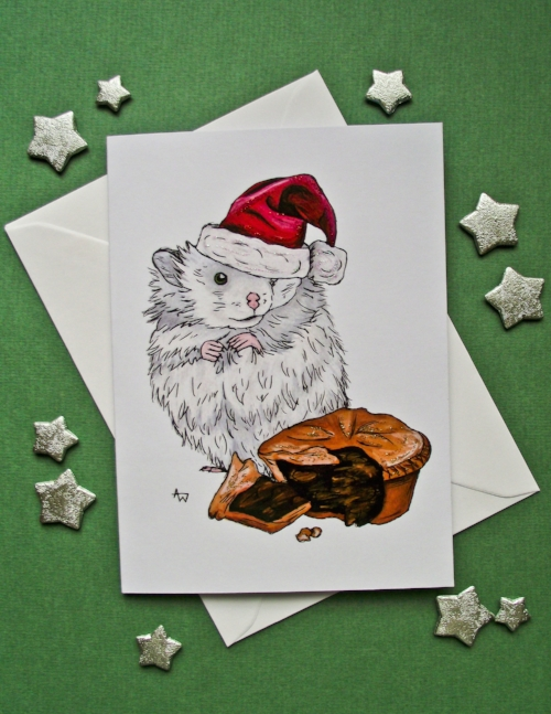"""Hamster and Mince Pie, with glitter - Christmas card - """"Have a Very Happy Christmas"""" inside - Envelope included"""