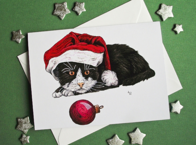 """Kitten and Bauble, with glitter - Christmas card - """"Have a Very Happy Christmas"""" inside - Envelope included"""