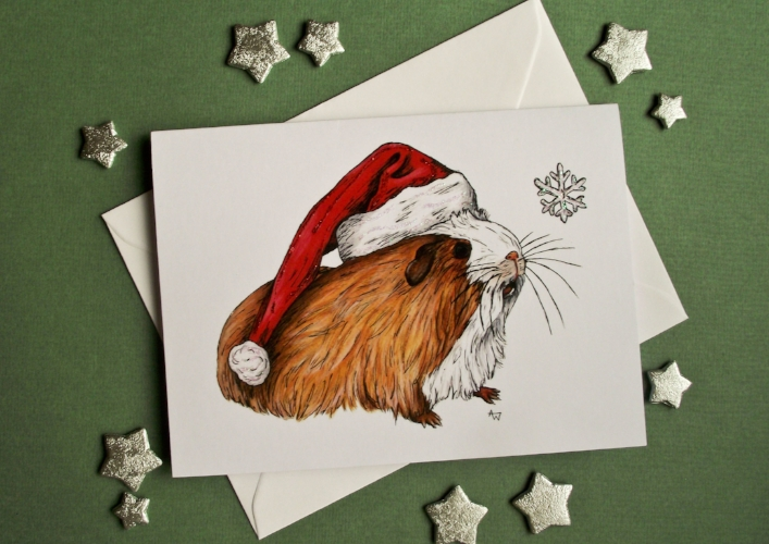 """Guinea Pig and snowflake, with glitter - Christmas card - """"Have a Very Happy Christmas"""" inside - Envelope included"""