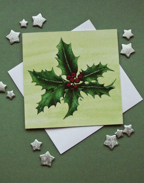 """Holly Leaf , with glitter - Christmas card - """"Have a Very Happy Christmas"""" inside - Envelope included"""