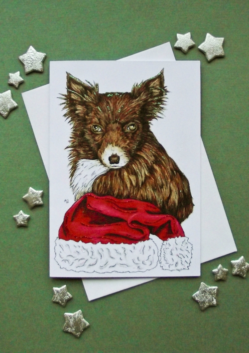 """Foxy dog , with glitter - Christmas card - """"Have a Very Happy Christmas"""" inside - Envelope included"""