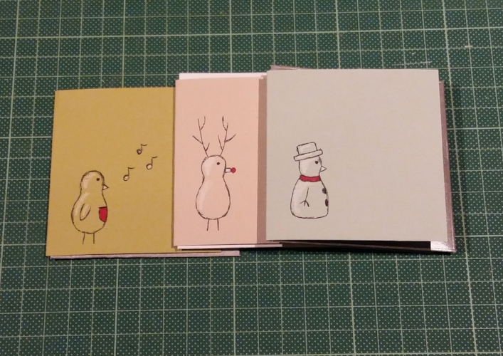 Hand-drawn Mini Cards - Small Christmas cards with a Robin, Reindeer, and Snowman individually drawn on each - Each with a hand-made envelope