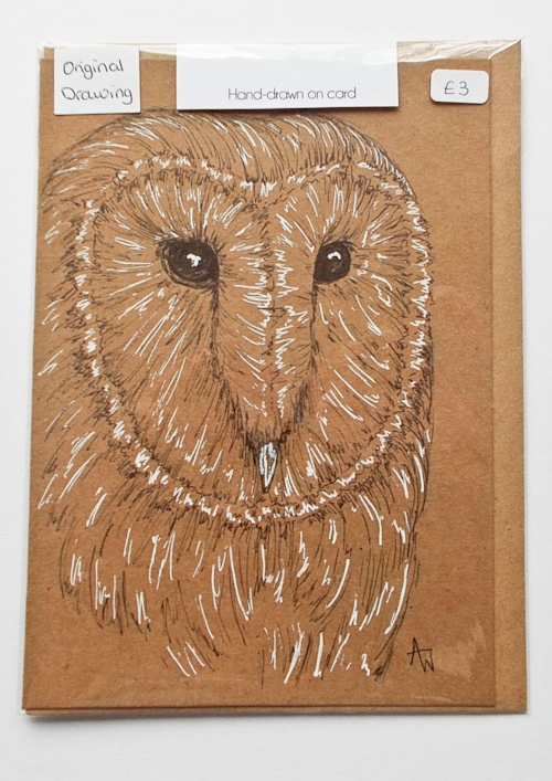 Barn Owl greetings card - 5inches x 7inches - Black fine-liner directly on to the card