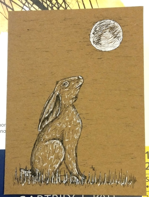 """Hare Card  - 5"""" x 7"""" - Pen sketch - Special order birthday card"""