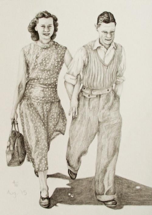 """Couple - 10"""" x 8"""" - Graphite pencils - Special Commission"""