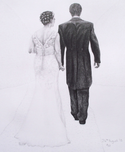 """Happily Ever After - 10"""" x 12"""" - Pencil portrait - A personal drawing I did for my friends wedding"""