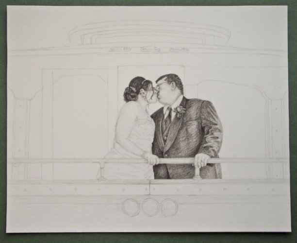 Wedding - A4 - Graphite pencils - Personal drawing for friends
