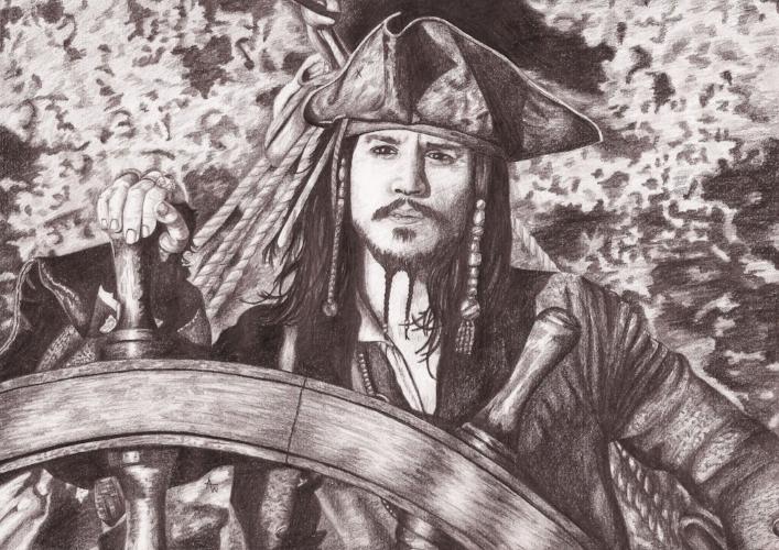 Captain Jack Sparrow, Pirates of the Caribbean - A4, graphite pencil