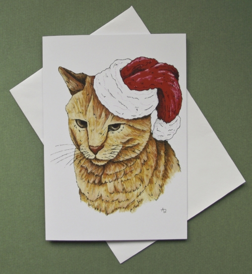"""Grumpy cat, with glitter - Christmas card - """"Have a Very Happy Christmas"""" inside - Envelope included"""
