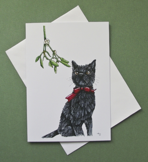"""Christmas cat and Mistletoe, with glitter - Christmas card - """"Have a Very Happy Christmas"""" inside - Envelope included -   In the shop"""