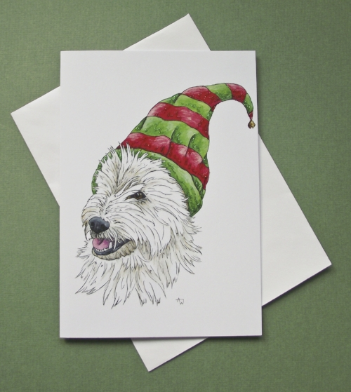 """Elf Westie (West Highland Terrier), with glitter - Christmas card - """"Have a Very Happy Christmas"""" inside - Envelope included -   In the shop"""