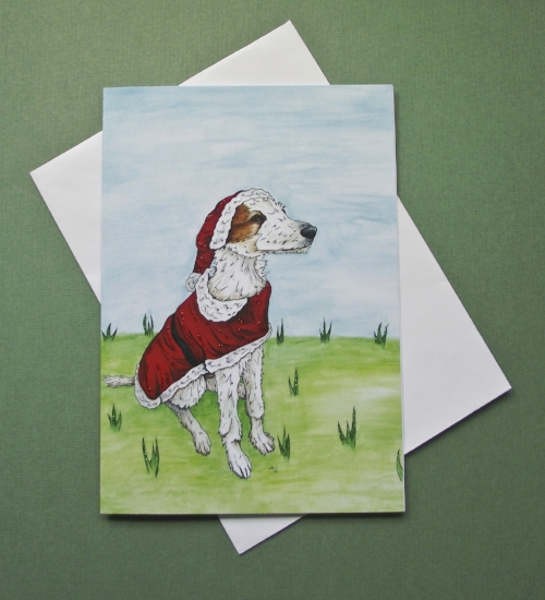 """Santa Lurcher, with glitter - Christmas card - """"Have a Very Happy Christmas"""" inside - Envelope included -   In the shop"""