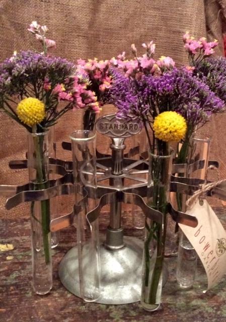 VINTAGE RUBBER STAMP RACK + TEST TUBES + CUT FLOWERS