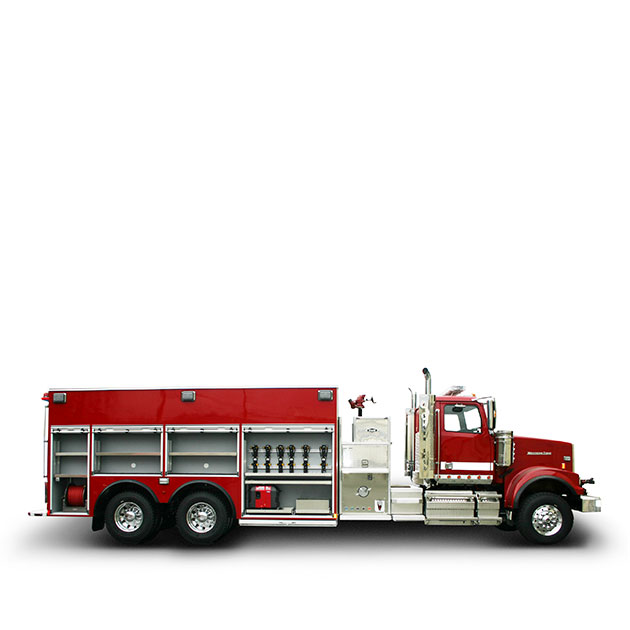 GRASSLAND   FIRE DEPARTMENT   Built on a Western Star 4900 FA Chassis, Grassland's Tanker Pumper utilizes a Detroit DD13 and an Allison EVS 4000 transmission which yields 450 horse power.