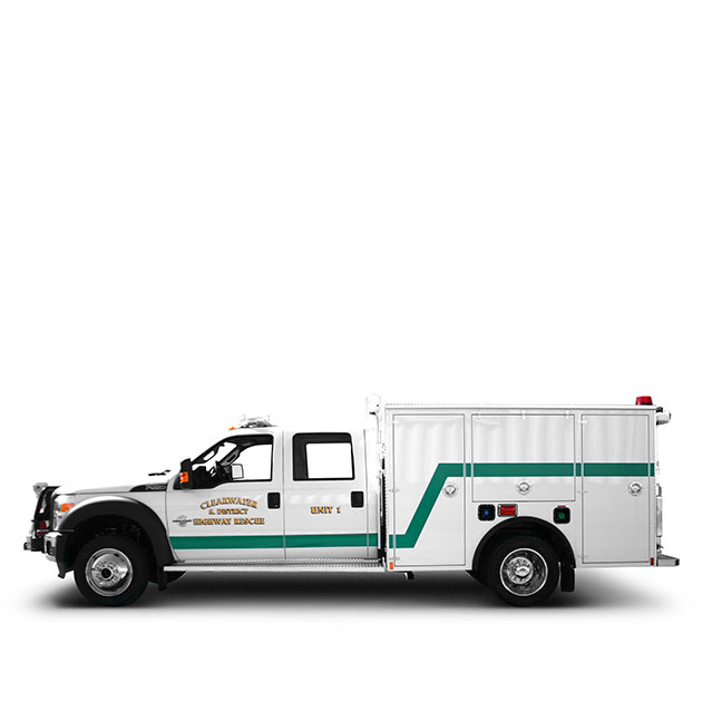 CLEARWATER & DISTRICT RESCUE   Built on a Ford F550, 4 Door Chassis, Clearwater & District Rescue Apparatus utilizes a6.7L Powerstroke Engine and a Torque-Shift Automatic Transmission which yields 300 horse power.