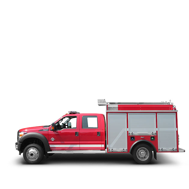 Salmo FD   Built on a Ford F-550, 4 Door Chassis, Salmo's Light Attack Engine features a CAFS, Amdor Roll-Up Doors and custom 90º Tilting Ladder Rack.