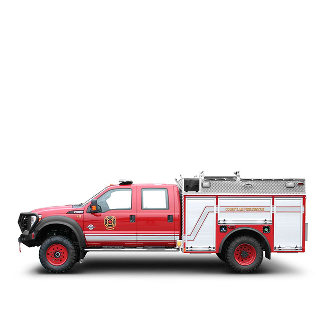 """Coquitlam Fire Rescue   Built on a Ford F-550, 4 Door 4x4 Chassis, Coquitlam's Light Attack Engine features a 3"""" Lift Kit, Interco IROC Tires and Warn M 15,000 Winch."""