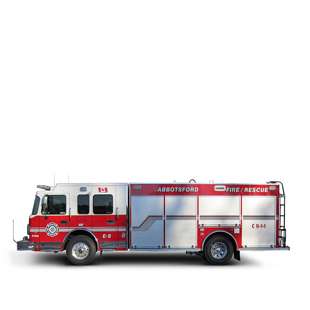 ABBOTSFORD FIRE DEPARTMENT   Built on a Spartan Metro Star, LFD Chassis, Abbotsford's Pumper Rescue utilizes a Cummins ISL and an Allison EVS 3000 transmission which yields 450 horse power.