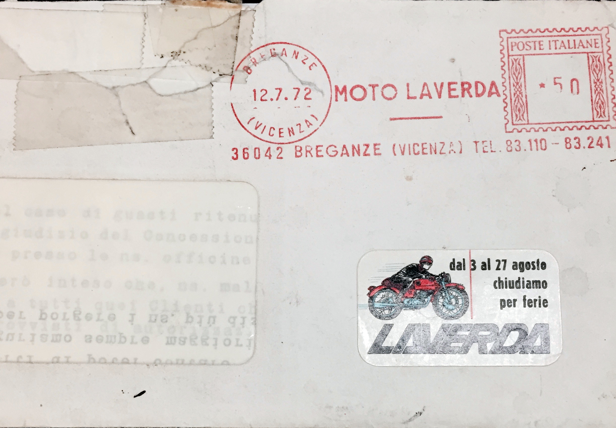 Laverda-envelope original stamp sfc