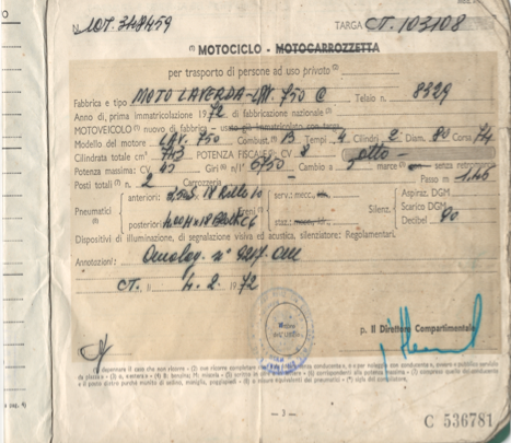 1971 Laverda SFC original document