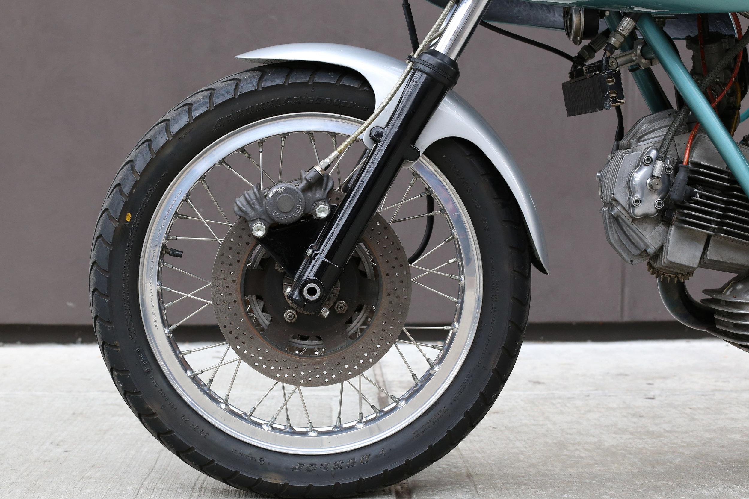1974 Ducati 750SS green frame moto borgotaro front wheel disc brake