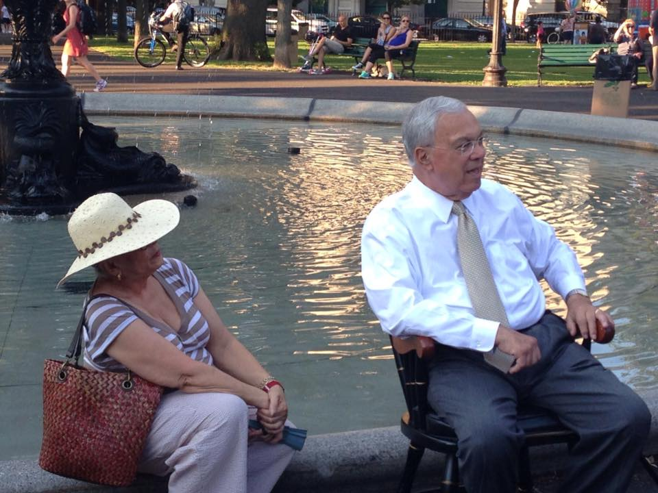 Former Boston Mayor Thomas Menino at the dedication ceremony for the restored fountains on August 12, 2013. See a video of the fountain dedication  here .
