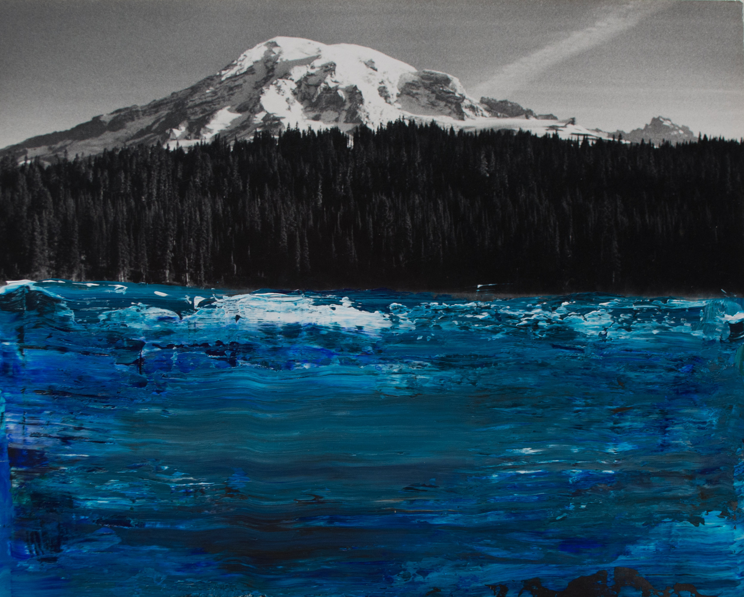 """""""Deep Blue and Ice White"""" -- 9 3/4 x 8 --Acrylic over photograph"""