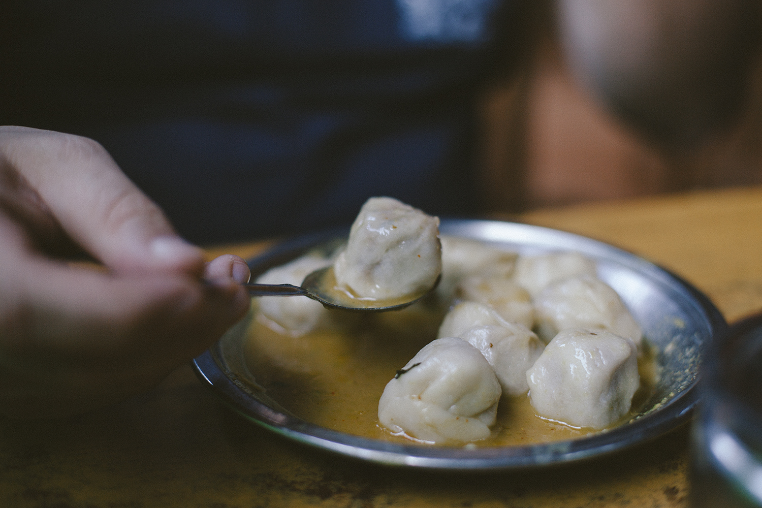 Buff momos in a small bhati (bar) in Bhaktapur