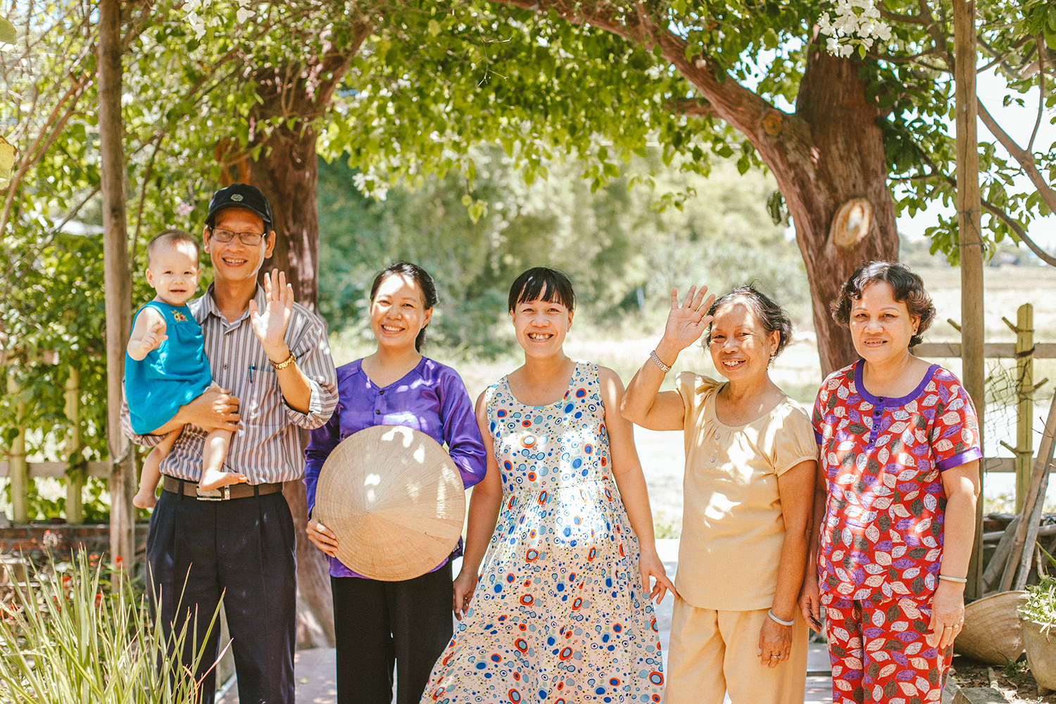 Hoang and his family, from the left: Hoang holding his baby, his wife, his sister (with her baby to be!), his mother and his aunt