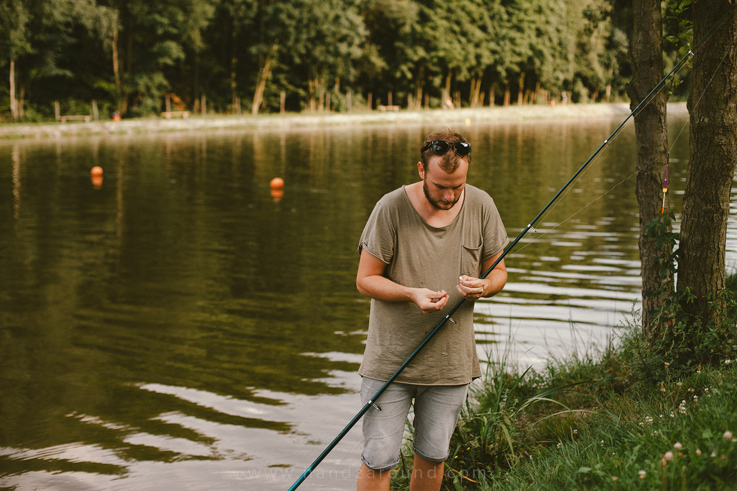 Zach getting ready for fishing in Zalew (a manmade hole filled with water from the local spring), where you can swim and fish.