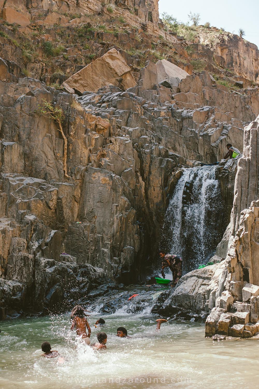 All the fun at the waterfall in Abaala