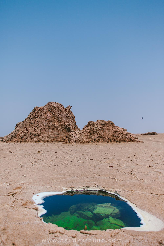 A small salt lake under the desert