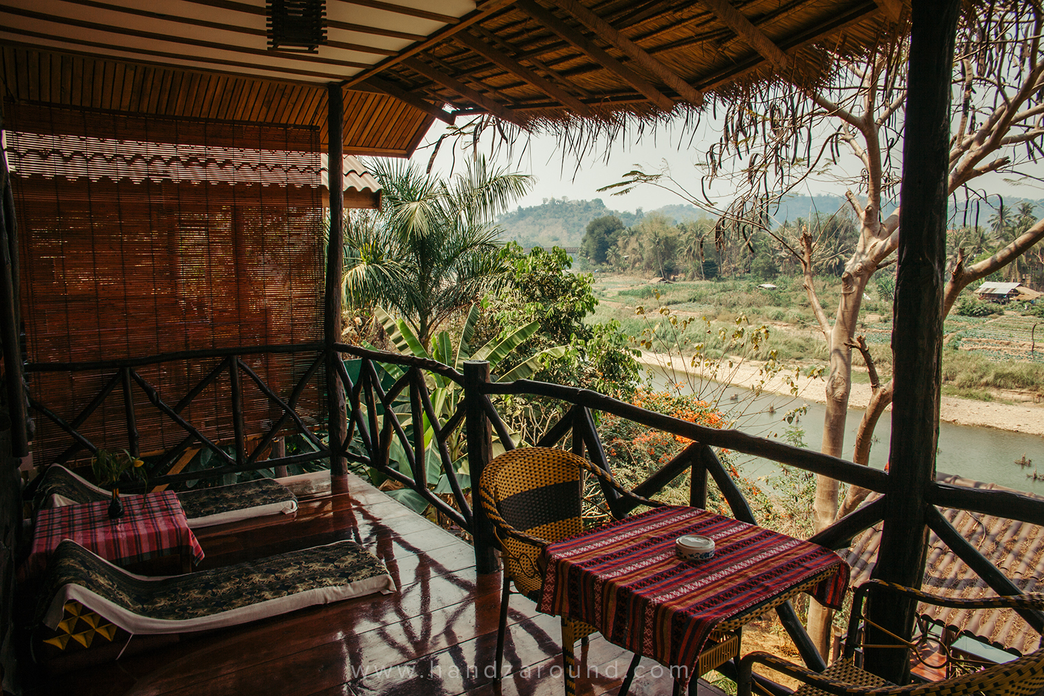 Terrace overlooking Mekong in Thongbay Guesthouse