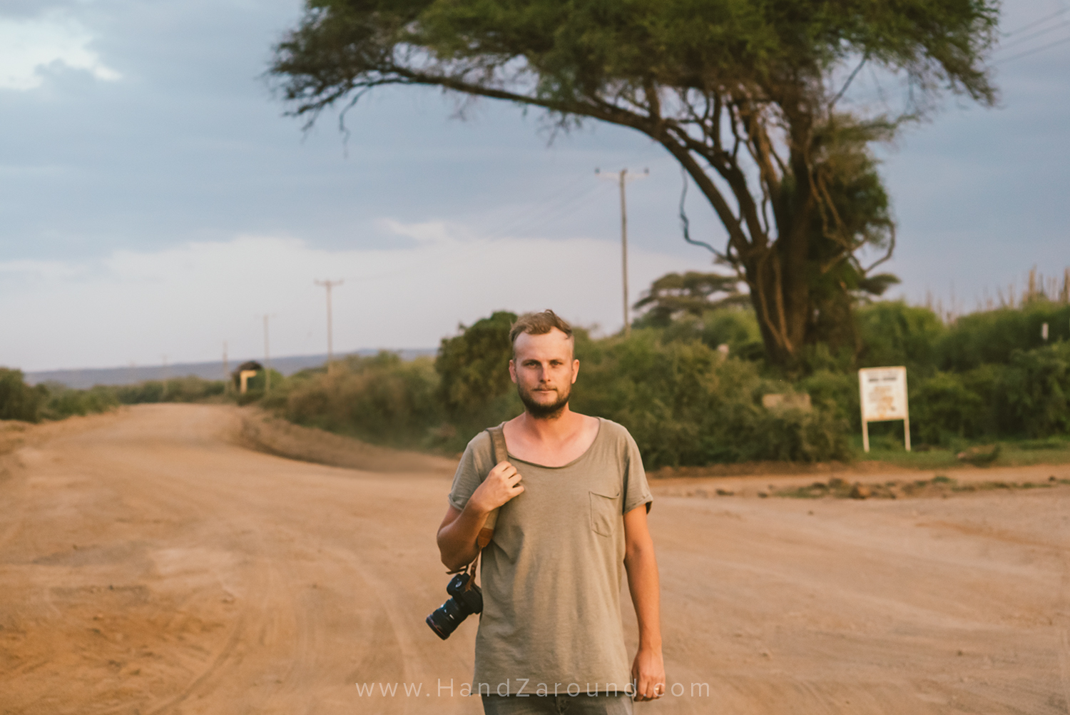 Canon 5D M2 - Zach in Amboseli (Kenya) with our good old Canon hanging down his arm!