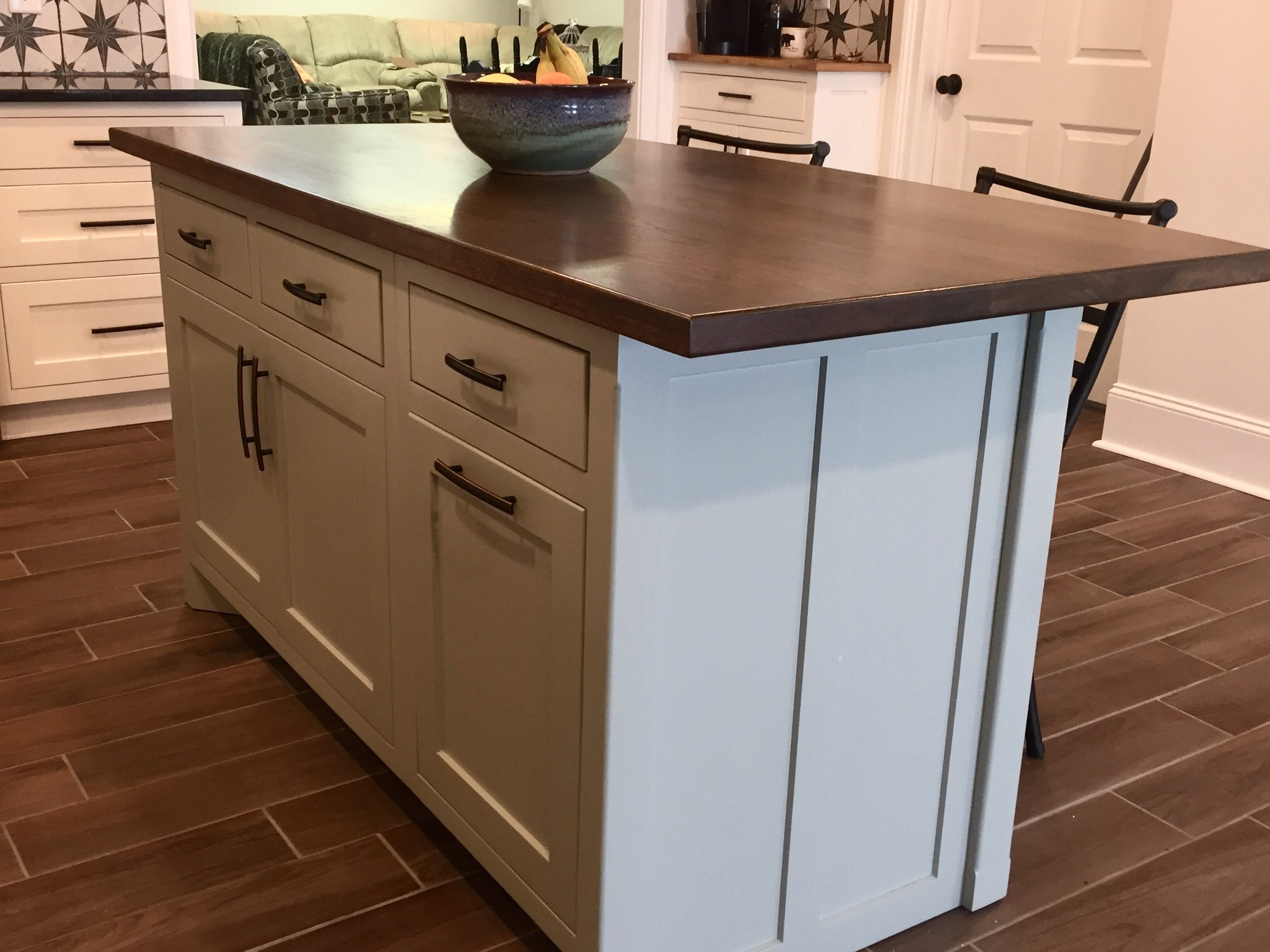 Custom Kitchen Island with a Hickory Countertop