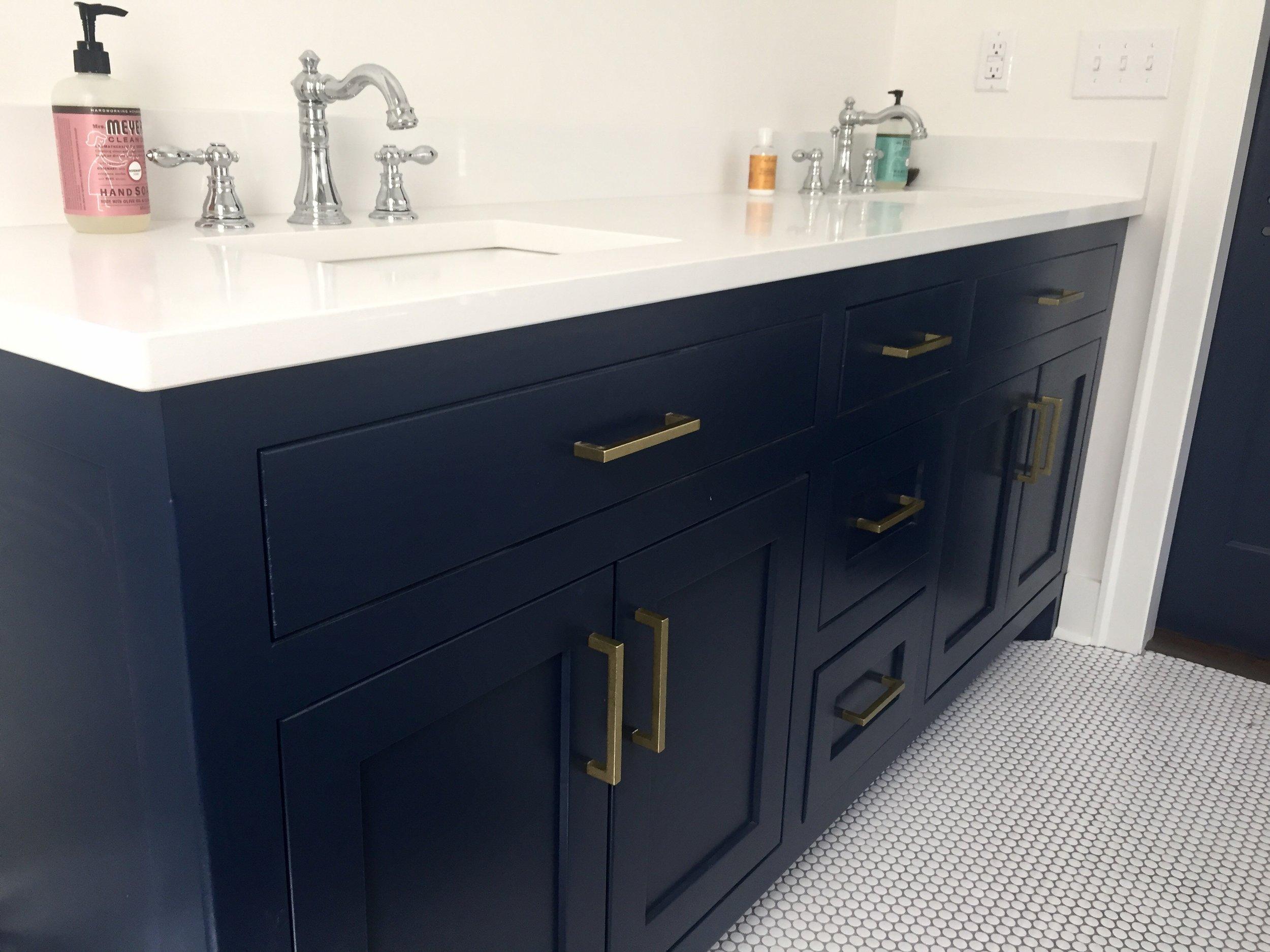 navy blue vanity