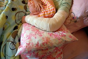 Sharon letts convalescing at home after elbow surgery, using only cannabis for pain.