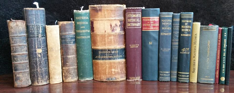 Collection of antique, medical reference books where cannabis is listed as medicine (circa: pre-1940s and the demonizing of hemp).