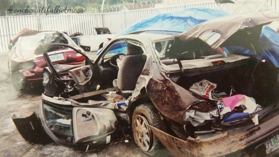 - Amy Mellen's car after the accident.