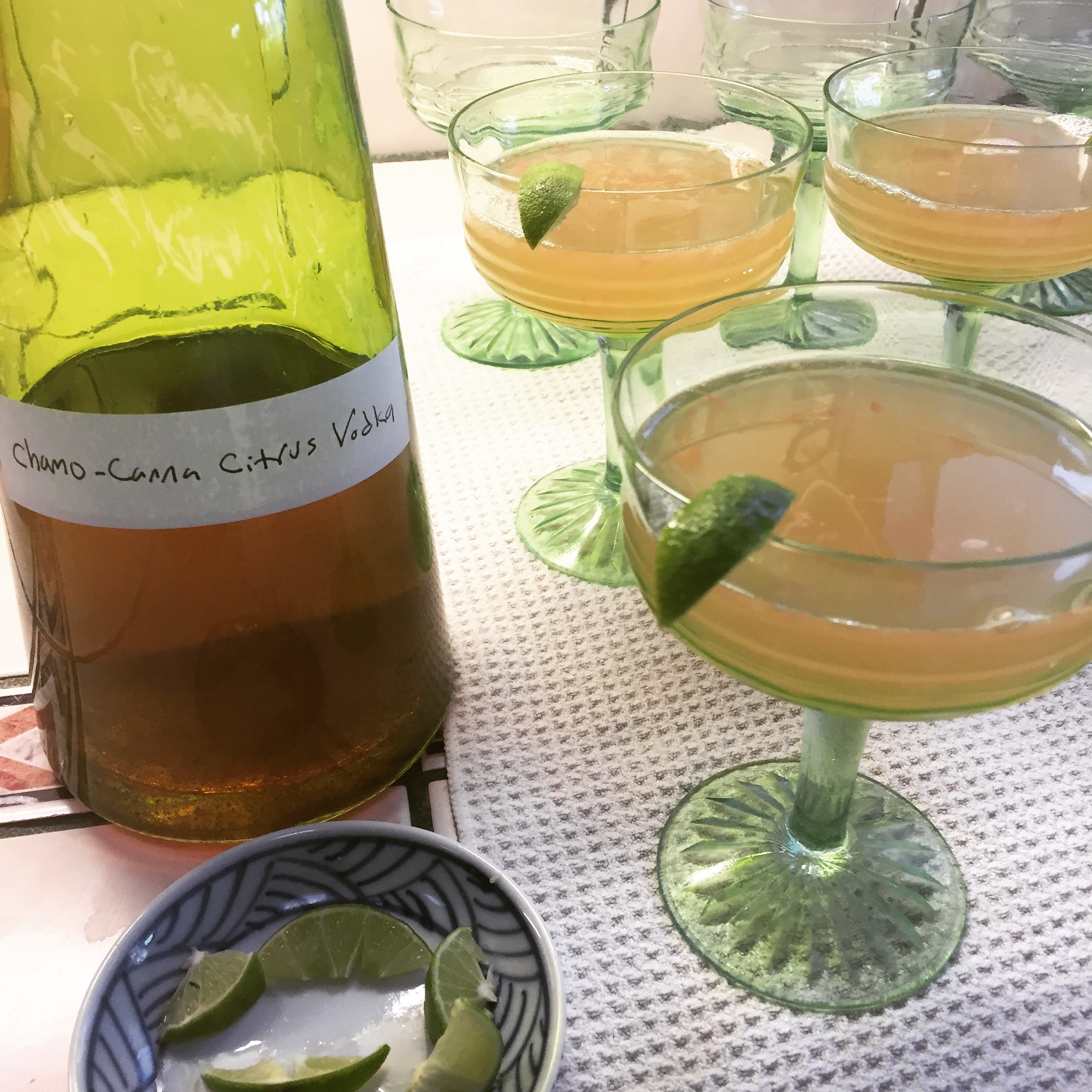 CalmingChamo Nightcap - 1 liter vodka; 1/4 c. whole chamomile flower;Citrus zest (orange, lemon, lime, grapefruit)Ganja Grapefruit Cocktail:1 shot vodka; Juice from one grapefruitFill with sparkling water or grapefruit sodaServe with a lime wedge, over ice.Note: Can also be infused w/cannabis, or half cannabis/half chamomile (as shown).