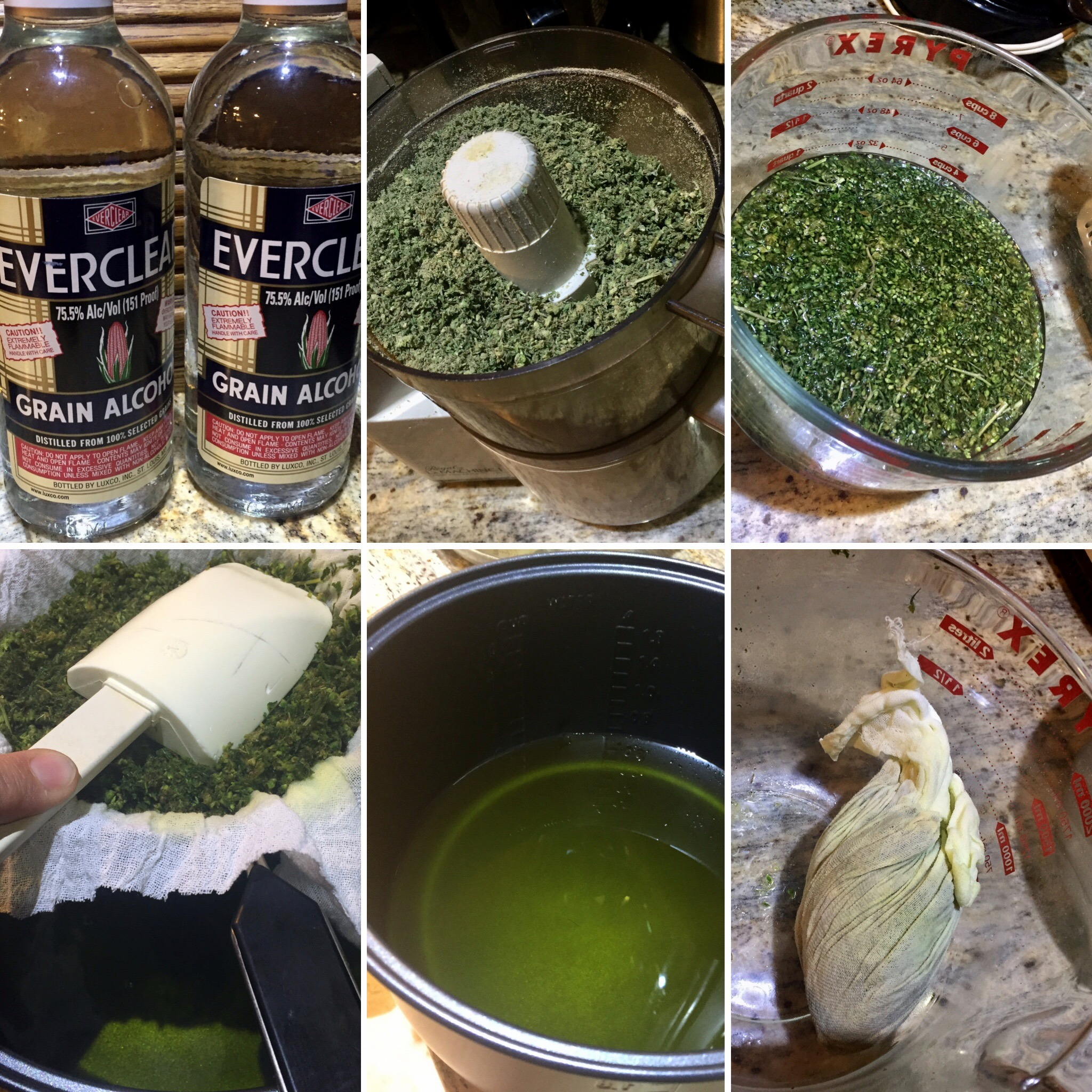 Cannabis Concentrate - Shown here using Everclear grain alcohol at 150 proof. Check your state laws for availability. Do not use drinking alcohol, as it has too much water. Moonshine and Isopropyl alcohol works, but you must make sure all the alcohol is cooked off.Note: This mix is very green, as there was more trim with leaves than bud, presenting with more chlorophyll, causing the bright green color and a weaker final product.Photos: Sharon Letts