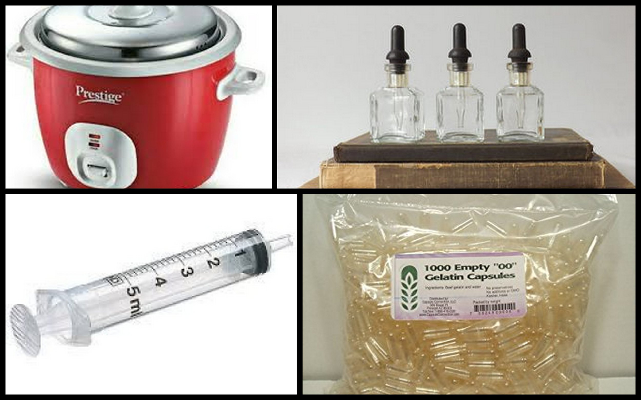 Tools of the apothecary trade: rice cooker, tincture bottles, syringe, capsules.