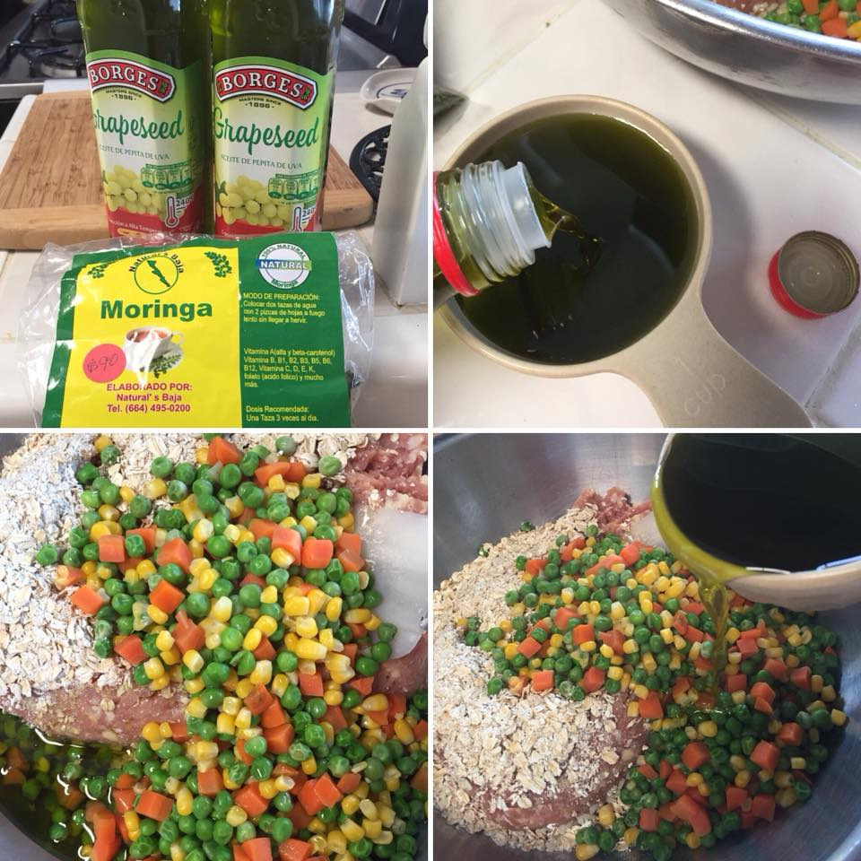 Beneficial Dog Food - 1 pound raw ground meat2 cups raw oats2 cups chopped veggies1 cup infused oil (see oil infusion recipe)2 eggsMix all, store in refrigerator, freeze or use immediately. Serving size depends on size of dog.