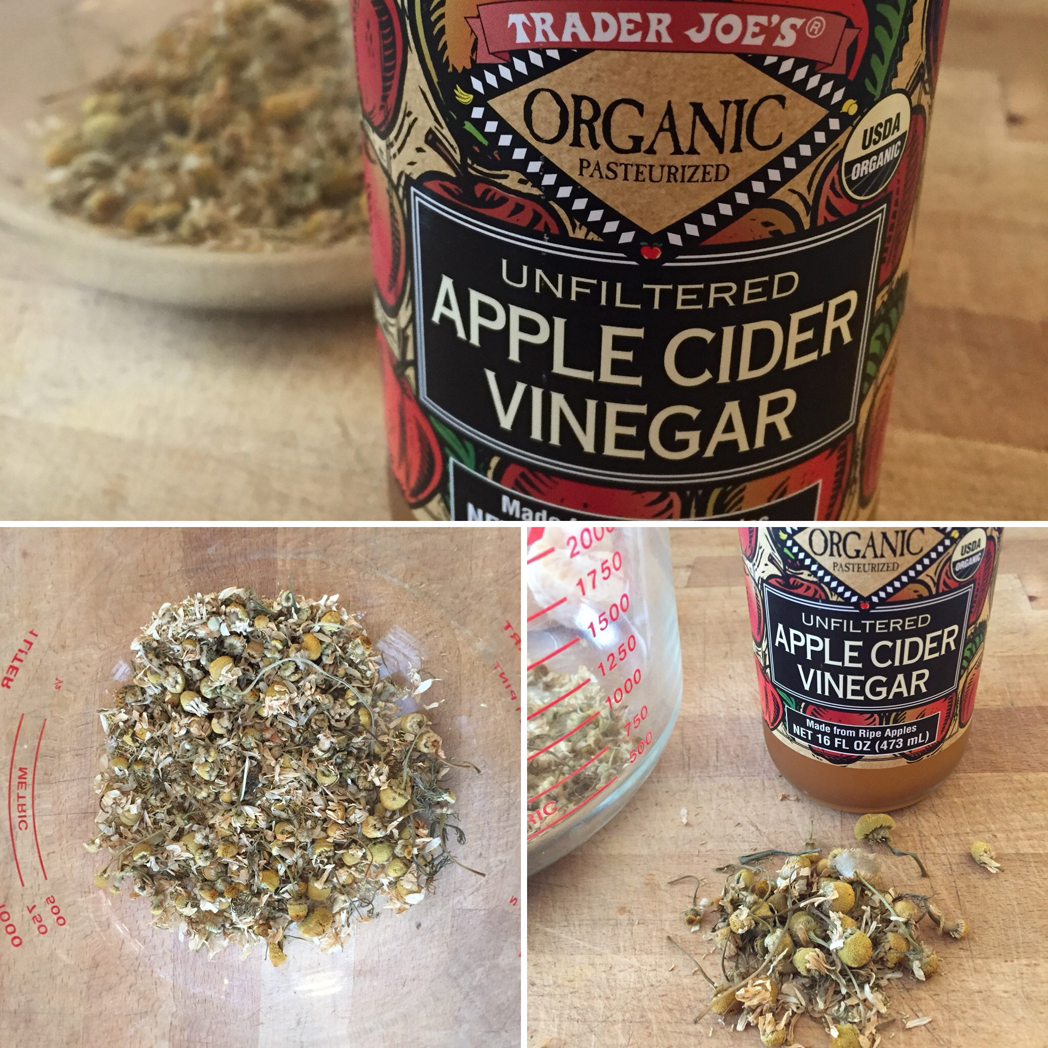 ACV & CHAMO - Apple Cider Vinegar is an age-old remedy, good for digestive issues.Add a 1/4 cup of chamomile flower to one bottle of ACV, let steep in a cupboard for up to two weeks, then strain.Dosing: one T. per half cup of juice, dailySee page on chamomile for more info.