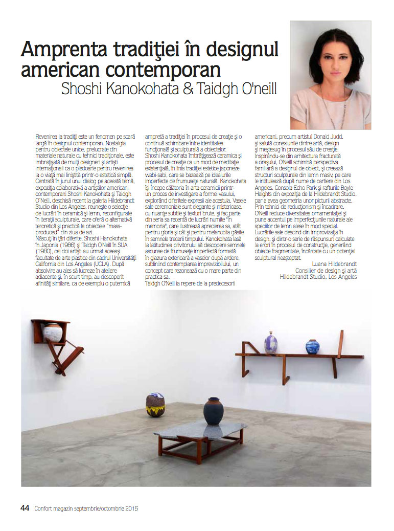 Hildebrandt Studio 'A Door Too Low' exhibition published in  Confort Magazine