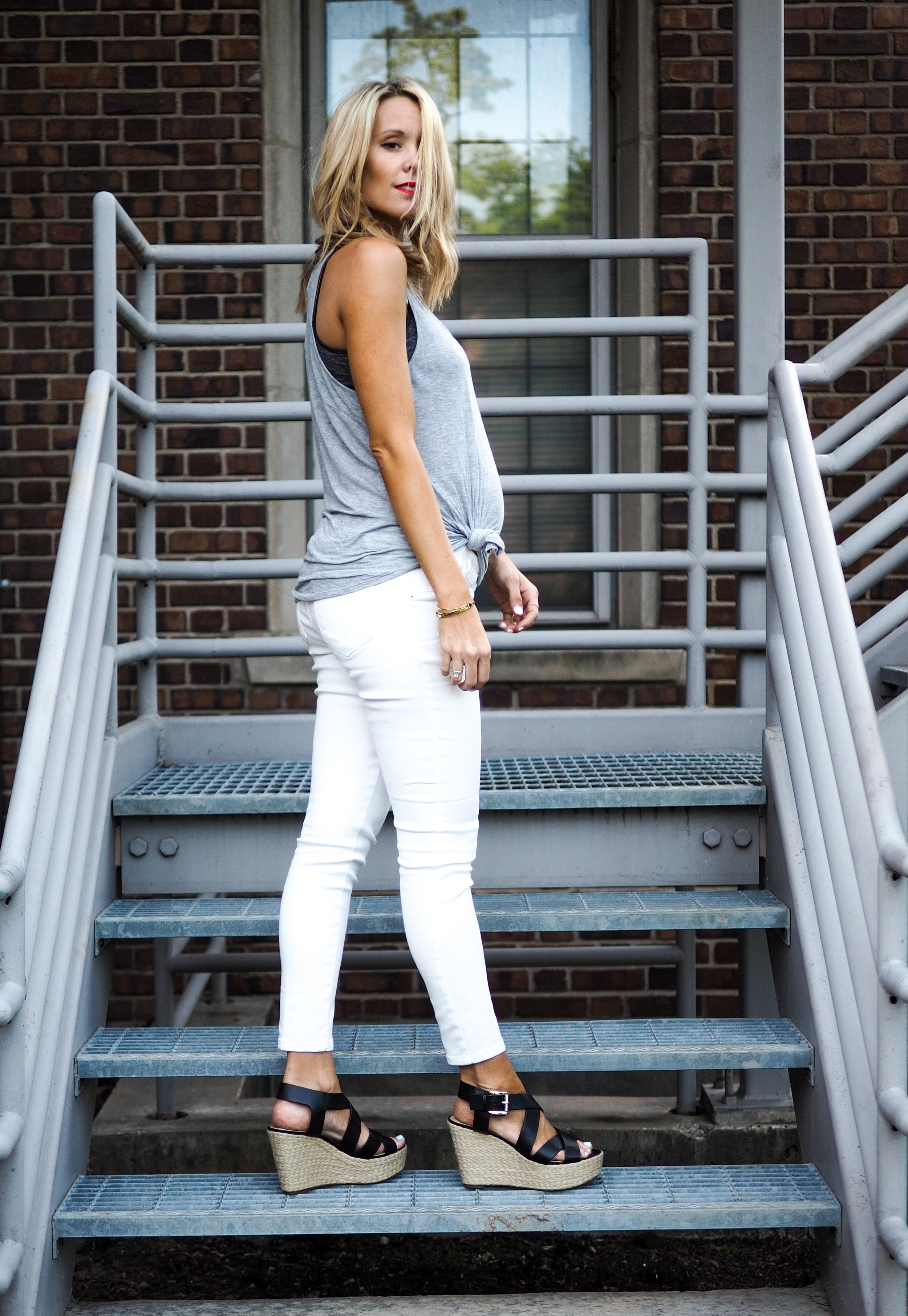 white maternity jeans