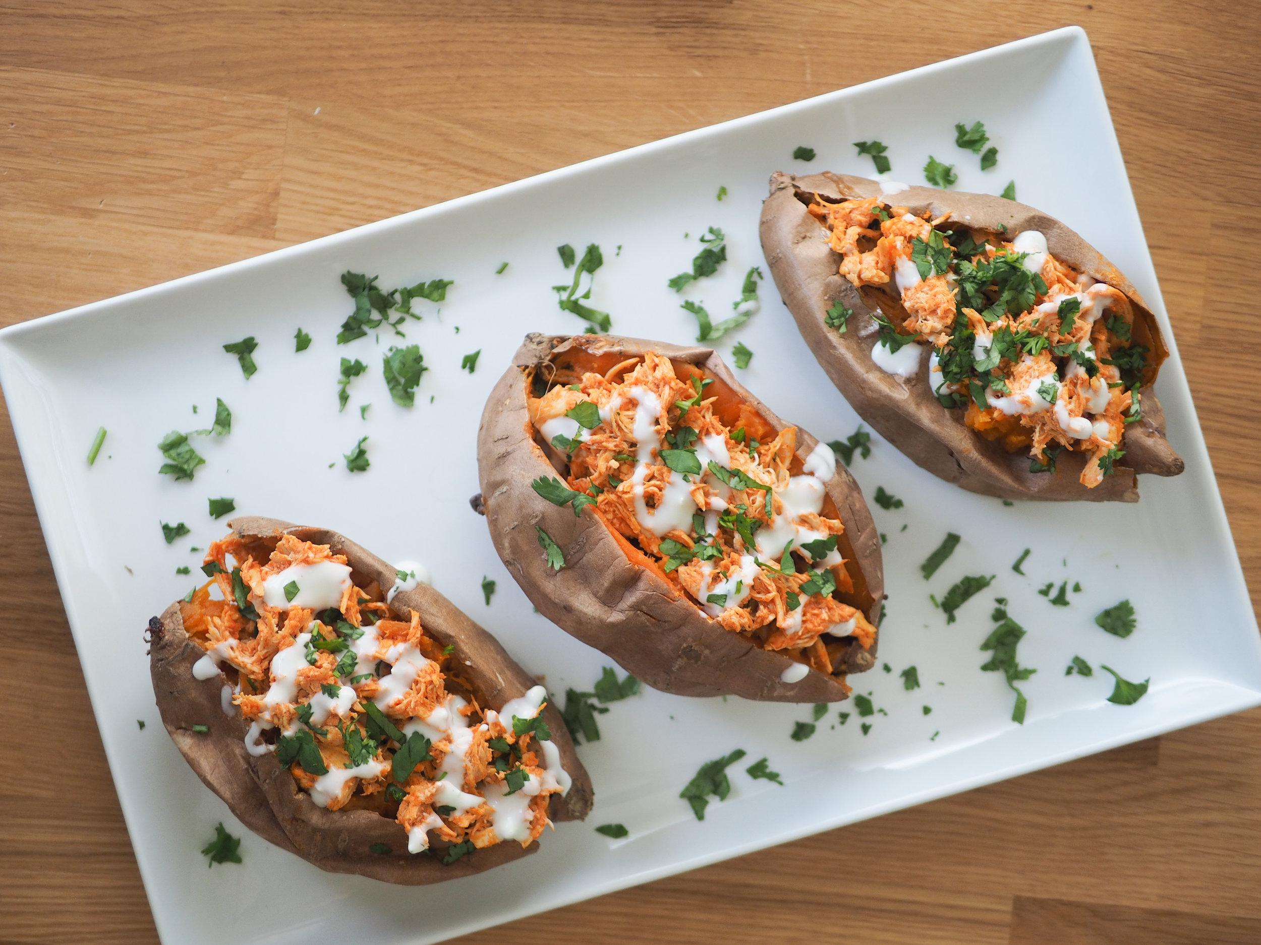 buffalo chicken stuffed sweet potatoes