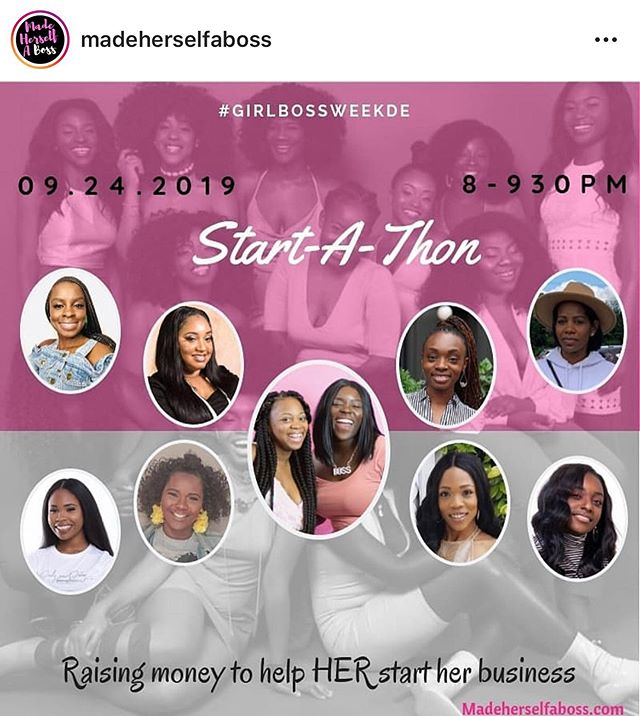 Tune into the @madeherselfaboss Instagram live Start-A-Thon September 28th @ 8pm. Watch as these amazing girlbosses are interviewed about entrepreneurship and help raise money for one lucky lady starting her business. #heyblkgirl #madeherselfaboss #blackwomeninbusiness #startathon