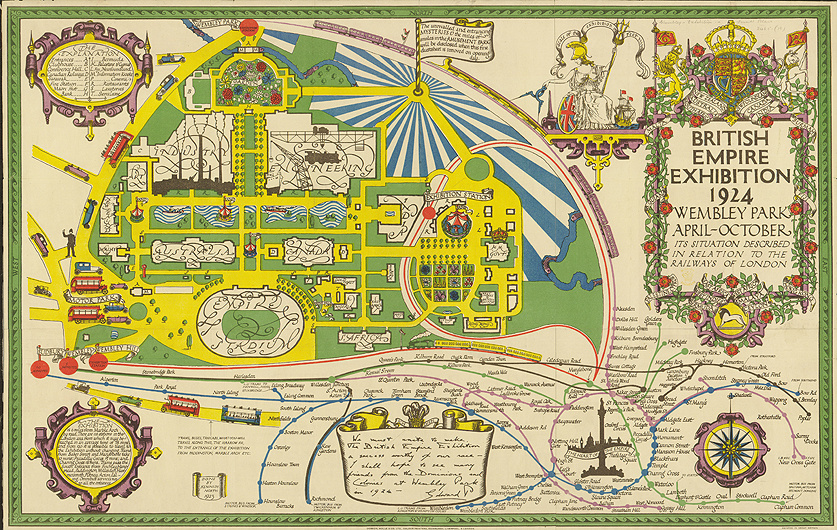 Map of the British Empire Exhibition in 1924. The Stadium was built over the site of the tower.