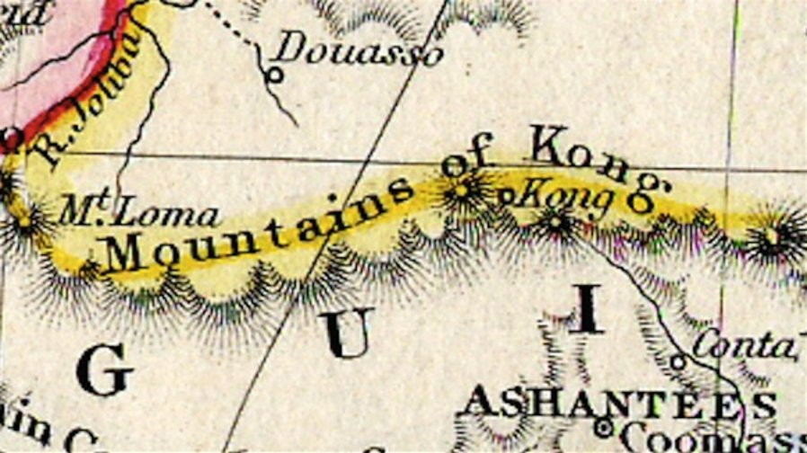 Mountains of Kong - http://bigthink.com/strange-maps/fabled-and-false-the-mountains-of-kong